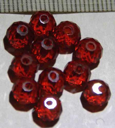 Glasperle Rot geschliffen 6mm