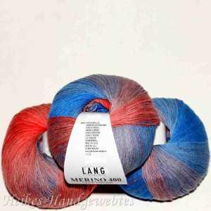 Merino 400 Lace Color Koralle-Hellblau