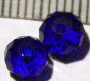 Glasperle Blau geschliffen 6mm