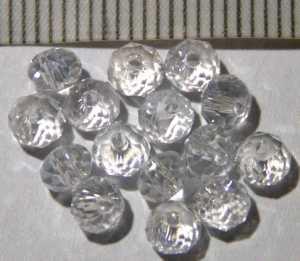 Glasperle funkelnd-klar geschliffen 4mm