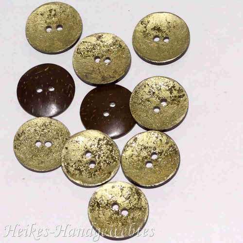 Kokosnuss-Knopf rund gold 30mm