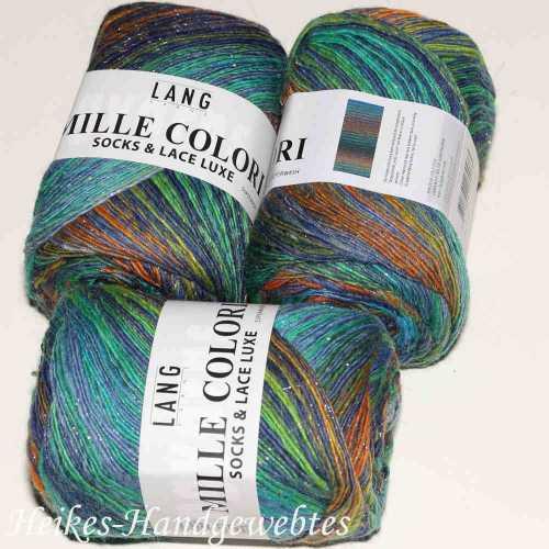 Mille Colori Socks & Lace Luxe Türkis-Grün-Orange