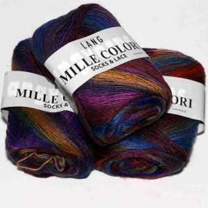 Mille Colori Socks & Lace Blau-Bordeaux-Lila-Orangebraun