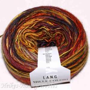 Mille Colori 200g-Bobbel Ocker-Braun-Rot