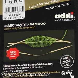 addiCraSyTrio Bamboo 2.75 - 3 Stück biegsame Strumpfstricknadeln