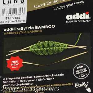 addiCraSyTrio Bamboo 3.25 - 3 Stück biegsame Strumpfstricknadeln
