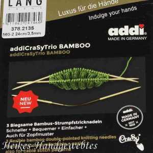 addiCraSyTrio Bamboo 3.5 - 3 Stück biegsame Strumpfstricknadeln