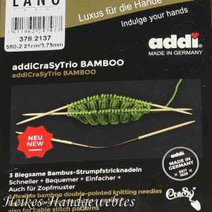 addiCraSyTrio Bamboo 3.75 - 3 Stück biegsame Strumpfstricknadeln