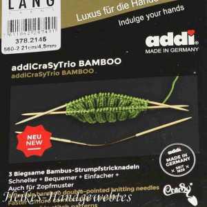 addiCraSyTrio Bamboo 4.5 - 3 Stück biegsame Strumpfstricknadeln
