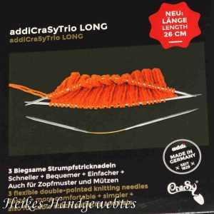 addiCraSy Trio long 6 - 3 Stück biegsame Strumpfstricknadeln