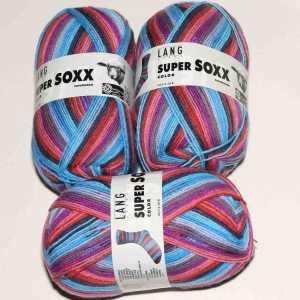 Super Soxx Color 4-fach Türkis-Rosa-Grau
