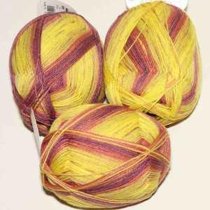 Lungauer Sockenwolle Seide 414x20 Gelb-Bordeaux