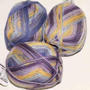 Lungauer Sockenwolle Seide 415x20 Lila-Gelb-Blau