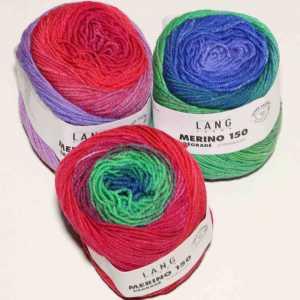 Merino 150 Dégradé Blau-Pink-Rot