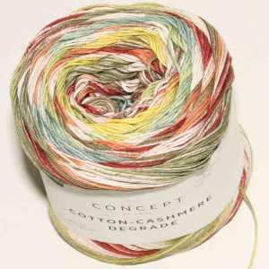 Cotton-Cashmere Degradé Khaki-Hellgelb-Rosé