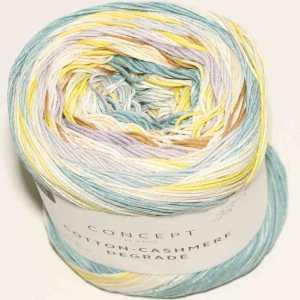 Cotton-Cashmere Degradé Malve-Wasserblau-Camel-Zitronengelb