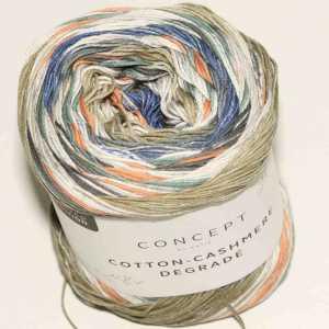 Cotton-Cashmere Degradé Jeans-Orange-Grünblau
