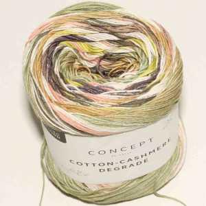 Cotton-Cashmere Degradé Perlbrombeer-Pistaziengrün-Rosé-Gelb
