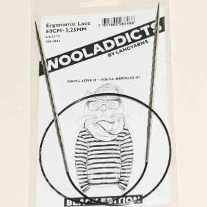 Stricknadeln addiNovel Nr. 3.25 mit Seil 60cm - Black Edition Wooladdicts